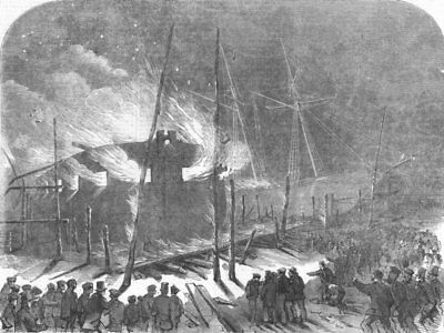 MILLWALL. floating battery Etna on fire, at Scott Russell and Co's works, 1855