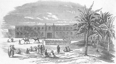 ALEXANDRIA. Egyptian Troops in the Great Square. Egypt, antique print, 1853