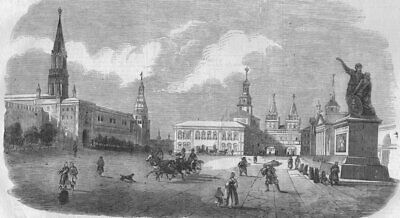 MOSCOW ??????. Red Square. The Red Place. Russia, antique print, c1860