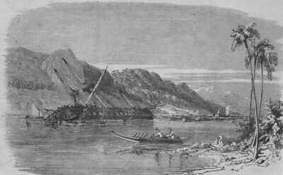 JAPAN. Scene of the recent earthquake in Japan-sinking of The Diana, print, 1856