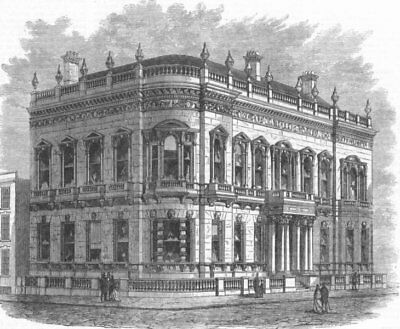 BIRMINGHAM. The Union Club-house, antique print, 1869