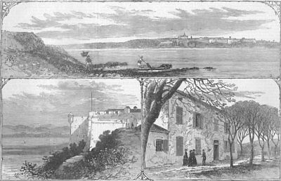 FRANCE. St Marguerite Fort, Cannes, antique print, 1874