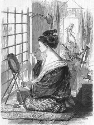 JAPAN. Japanese girl painting her lips, antique print, 1864