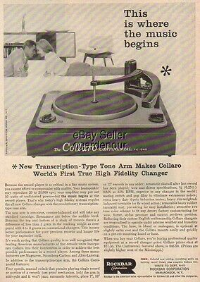 1957 Rockbar TC-540 Turntable/record player photo Ad : Vintage Advertising
