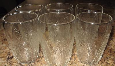 Lot of 6 Small Juice Glasses 4 oz Clear w Leaf Design Ounce 3""