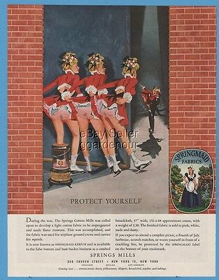 1948 Spring Mills Springmaid Fabric Underwear panties Ice Skater Warming Butt Ad