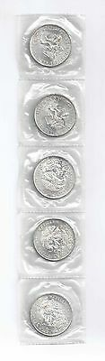 Five 1968-Mo Mexico City Olympics Silver UNC Coins Mint Sealed