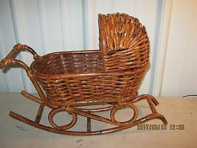 Vintage Rattan Wicker Doll  BASSINETTE CRADLE BED