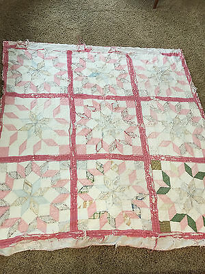 Antique Quilt Hand Stitched Cutter -  Extremely tattered worn & torn