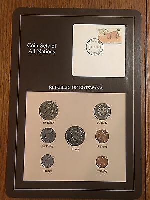 1981 - 1984 Botswana Coin & Stamp Set - Franklin Mint - Coin Sets Of All Nations
