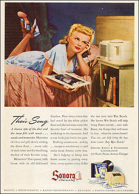 1943 vintage AD SONORA Radio and Television Chicagol Bedside radio  (092515)