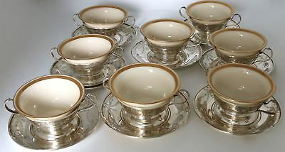Wallace Sterling Silver Bouillon Dessert Bowls & Underplate Engraved Design 25pc