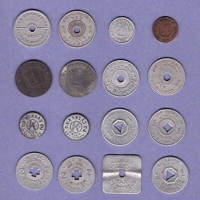 Mixed Lot Of Sixteen (16) Tax Tokens - Collection Lot #A