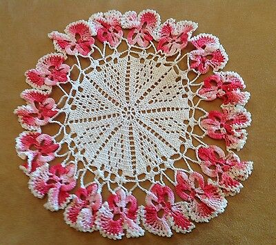 Vintage Hand Crocheted Doily, Pansy Flower Design, Scalloped Edges, Pink, White