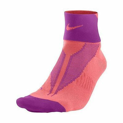 Nike Elite Lightweight Quarter Running Socks US 10-11.5 SX4953-606 Fuchsia Flash