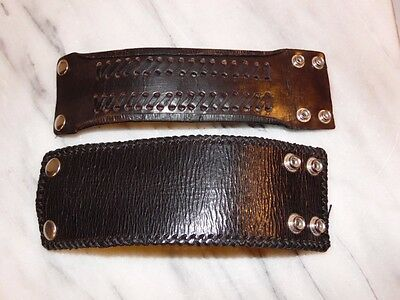 2 Thick with Snaps Black Leather Wristbands Cuff Bracelet Punk Retro