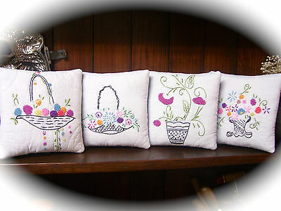 PILLOWS from 1920-30s EMBROIDERED QUILT~BASKETS WITH FLOWERS~FENCH KNOTS GALORE~
