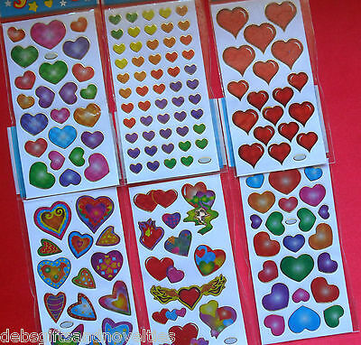 Bulk Lot 24 Sheets Of Assorted Heart Scrapbooking Craft Stickers Party Favors