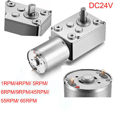 24V DC High Torque Turbo Worm Geared Motor Electric Reversible Reduction For DIY