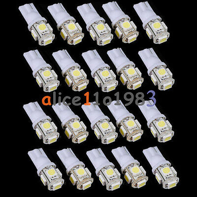 10PCS T10 5050 W5W 5 SMD 194 168 LED White Car Side Wedge Tail Light Lamp 12X30m