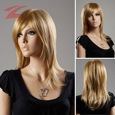 ZNL Wow! Damen Perücke wie Echthaar Blond Haar Wigs Glatt Lang Cosplay Party Neu