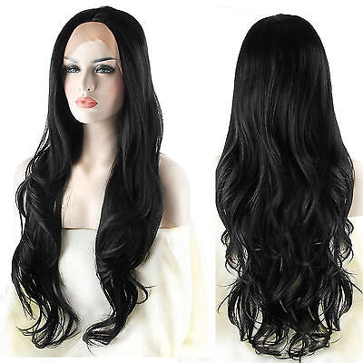 Natural Looking Long Black Wavy Wigs Synthetic Hair Lace Front Women Hand Tied