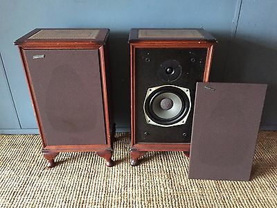 Vintage Pair Of Hacker Music Speakers Mahogany Casements Tooled Leather Inset