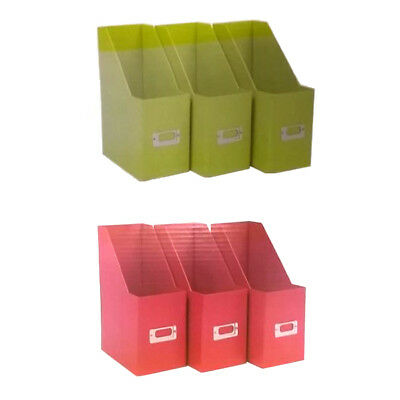 Colour Match Magazine Paper Files Tidy Box Organizer Set of 3 Card Filers A4
