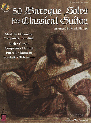 50 Baroque Solos for Classical Guitar TAB Sheet Music Book/CD