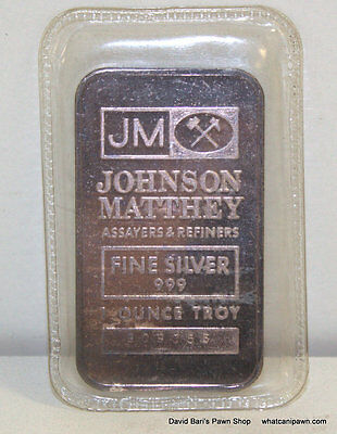 Johnson Matthey JM 1 Troy oz .999 Fine Silver Bullion Bar Ingot - 1oz 999 pure
