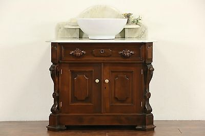 Victorian Carved Walnut 1870 Antique Marble Top Commode, Sink Vanity or Bar