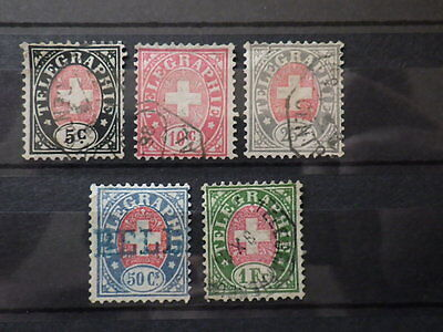 Stamp Timbre SUISSE HELVETIA 1868 Telegraph Yt Mi TL1 / 5 Used Oblit. *