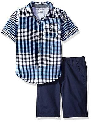 Calvin Klein Little Boys S/S Plaid Woven Shirt  2pc Short Set Size 4 5 6 7 $55