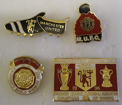 MANCHESTER UNITED 4 x Football Badges CHARITY SHIELD WINNERS, CHAMPIONS & FAC 96