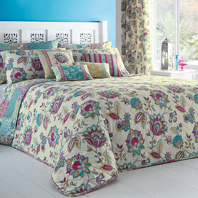 Dreams 'N' Drapes Marinelli Floral Quilted Bedspread, Multi, 195 x 229 Cm