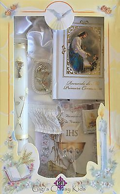 New First Holy Communion Candle Box Gift Set for Boys Spanish Missal Rosary