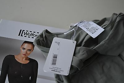 WOLFORD GREY TINT  PULLOVER / LONG SLEEVE semi sheer TOP SIZE MEDIUM  NEW BOXED