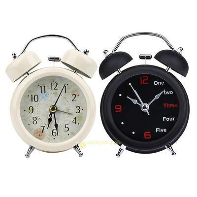 Classic Vintage Number/English Retro Double Bell Desk Silent Table Alarm Clock