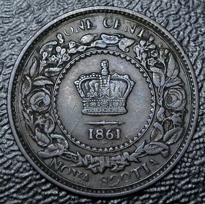 OLD CANADIAN COIN 1861 - NOVA SCOTIA ONE CENT - Victoria - Nice GRADE