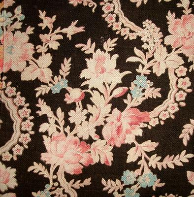 BEAUTIFUL FRAGMENT 19th  CENTURY FRENCH COTTON, FLORAL, REF PROJECTS