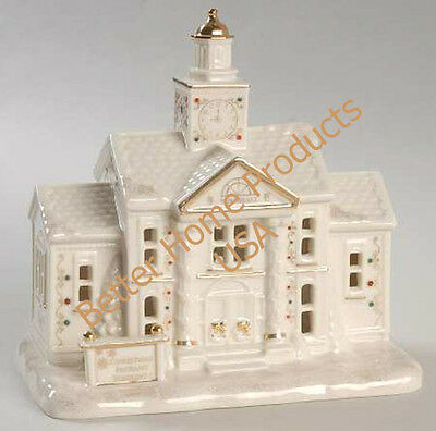 Collectible Lenox Mistletoe Park Village Town Hall with Clock Tower New In Box