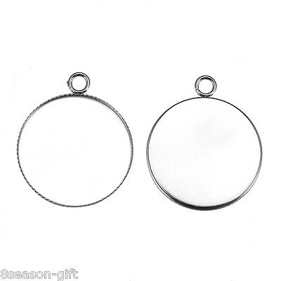 10PCs Stainless Steel Inlay Round Torus Small Pendant Jewelry Findings