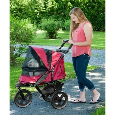 AT3 No-Zip Pet Dog Stroller - Rugged Red