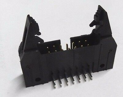 10 x Molex 14 way right angle IDC latched header PCB plug