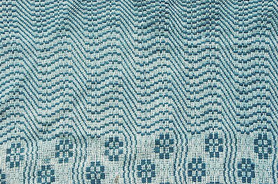Antique Teal Blue Woven Coverlet 24 x 34 Piece Repurpose Craft