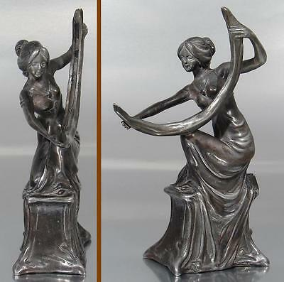 ART NOUVEAU Silvered Bronze LADY Statue Figure Holding CRESCENT Moon for Mirror?