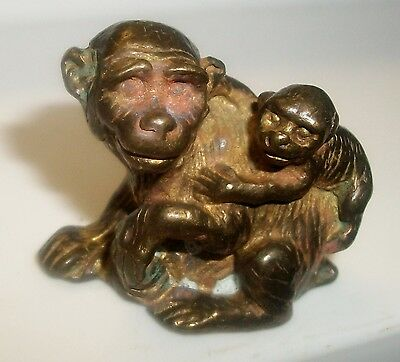 Very Old Antique Miniature Chinese Bronze Mother Monkey With Baby On Back C.1850