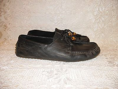Gucci Men's Black Leather Bamboo Tassel Driving Loafers Shoes 367923 / Size 10.5