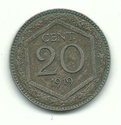 Very Nice High Grade Better Date 1919 R Italy 20 Centesimi Coin-Mar414