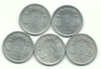 Very Nice Lot 5 Chile 1 Peso Coins-1954,(2)1955,1956,1957-Jan1315